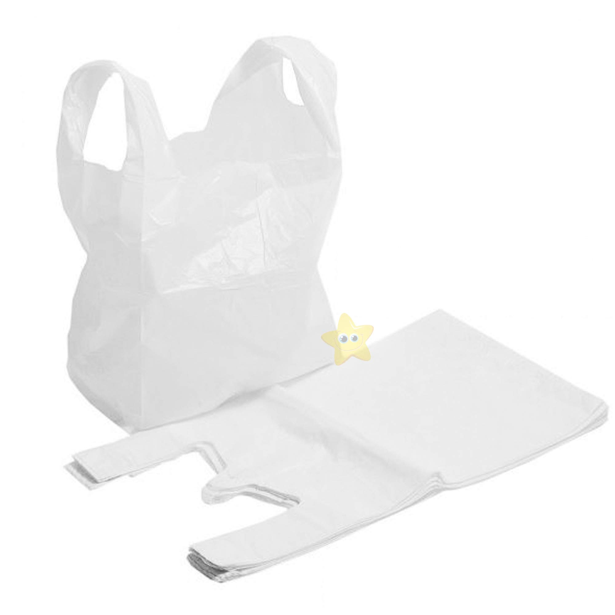 Eco Friendly 10 x 15 x 18 100/% Recyclable Sabco Sabco 100 x Strong White Vest Style Plastic Carrier Bags