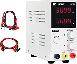DC Power Supply Variable 30V 10A, (Precision 00.01V,00.01A)4-Digital LED Display, Precision Adjustable Regulated Switching Power Supply Digital with Alligator Leads US Power Cord