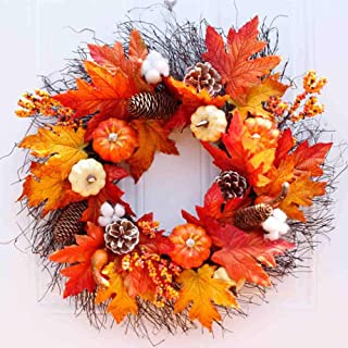 Luchuan Fall Wreath for Front Door Decor Wreath Fall Decorations, 22â€Diameter, Autumn Leaves Wreath Pumpkin Wreath for Indoor/Outdoor