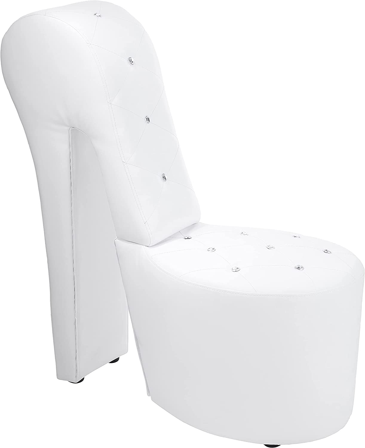 Best Master Furniture High Heel Faux Leather Shoe Chair with Crystal Studs, White