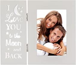 YEASL I Love You to The Moon and Back Picture Frames,White 4X6 Wood Tabletop Photo Frame, Love Gifts for Mother Grandma Family Friends
