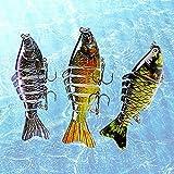 erma Cebo de Pesca, 3 Piezas de Cebo Artificial, operación Realista de Cebo de múltiples articulaciones, Aparejos de Pesca de Cebo para lubina, Utilizado para atrapar Peces Depredadores