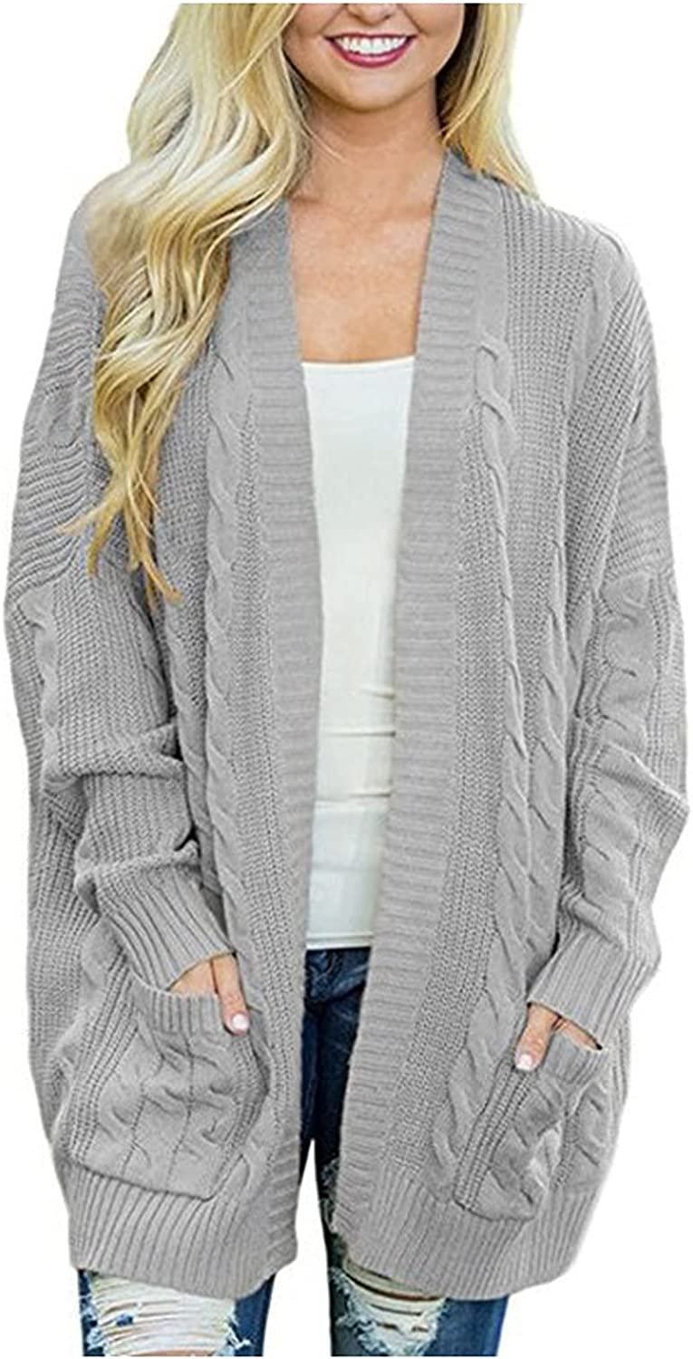 Womens Open Front Long Sleeve Chunky Knit Cardigan Sweaters for Women Fall Lightweight Oversize Cardigan