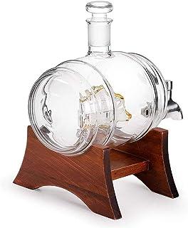 ZNGG 1リットルのウイスキー樽ディスペンサー、テーブルセッティング、缶店スピリッツ、リキュール、ワイン、ウイスキー、ブランデー、テキーラ、バーボンウイスキー、スコッチウイスキーのために使用される木製のワイングラスワインボトル、 8.10