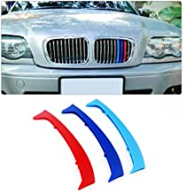 Longzhimei Fit for BMW E46 316 318 320 325 328 330 323 Sedan and Touring 1998-2005 M-Colored Front Grille Insert Trim Strips Grill Cover 3Pcs (10 Grilles)