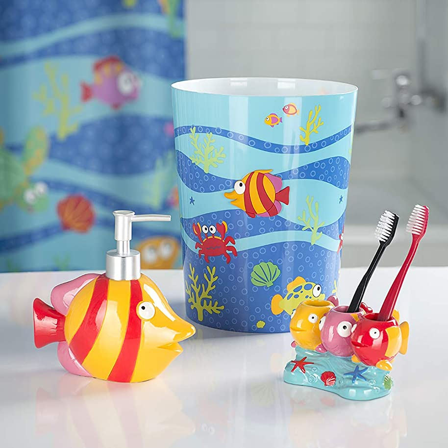 Allure Home Creations Fish Tails 3-Piece Bathroom Accessory Set - 1 Lotion Pump,1 Toothbrush Holder and 1 Wastebasket