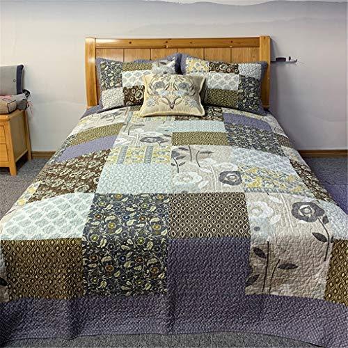 ADGAI 3-delige patchwork quilt spreien shabby chic geel blauw bloemen bedrukt patchwork bed spreien met 2 kussenslopen lichtgewicht zachte quilting bed gooit 230x250 cm
