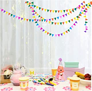 My Lifestyle 26Ft Set of 2 Rainbow Triangle Paper Garland for Room Party Decorations Backdrop (Rainbow Triangle)