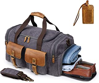 Kemy's Canvas Duffle Bag Oversized Genuine Leather Weekend Bags for Men and Women