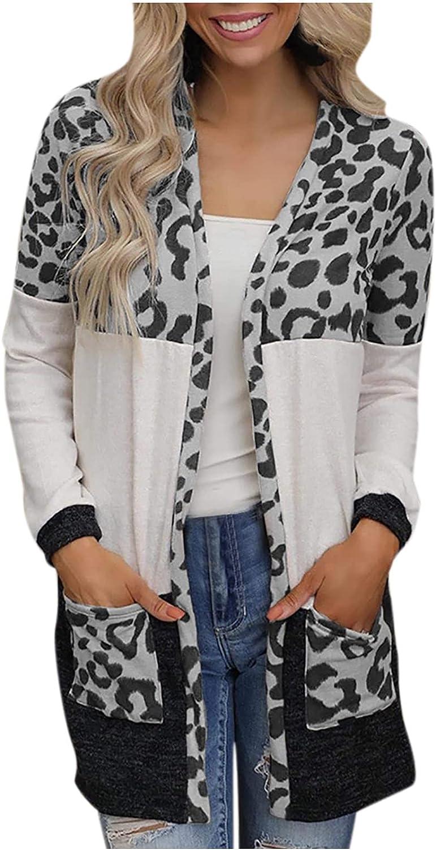 Women's Leopard Print Stitching Knit Jacket Cardigan Mid-Length Top Blouse Summer Autumn 2021 Unique