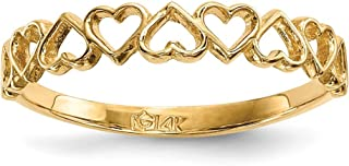 14k Yellow Gold 9 Hearts Band Ring Size 7.00 S/love Fine Jewelry Gifts For Women For Her