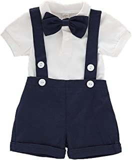 Christmas Baby Boys Gentleman Outfits Set Romper with Tie and Overalls Bib Pants Wedding Tuxedo Outfits