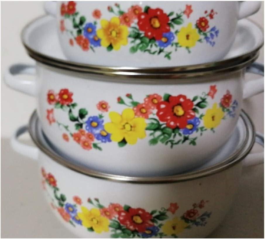 HEIFENGMUMA Crisp 5 Pots Set émail Pot for Cuisson Casserole émail Ceram Cuisine Pot 1-4Litre Cuisinier (Color : 5PCS B) 5pcs B