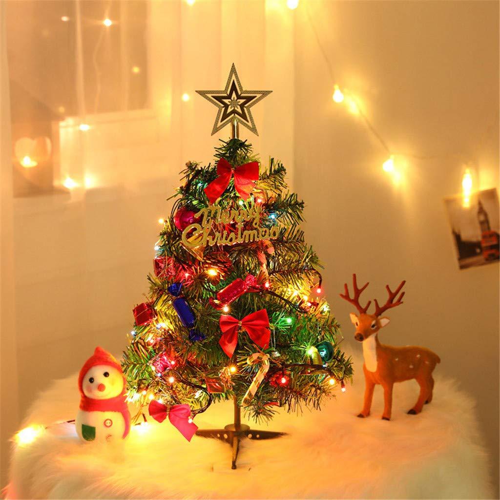 Takkar Mesa Árbol de Navidad 50 cm – Mini árbol de Navidad artificial con guirnaldas de LED y arcos de cinta roja, conos de pino y regalos de adornos para la decoración