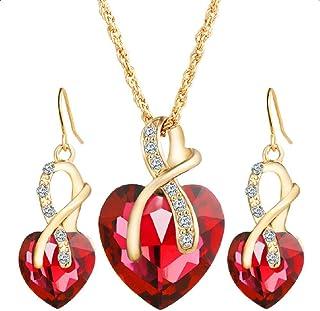 Flyme Necklace Earrings Heart Pearl Style Diamond Crystal Elegant Women Girls Jewellery Set of Crystal Pendant Necklace+Earrings (Red)