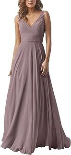 Double V Neck Elegant Long Bridesmaid Dress Chiffon Wedding Evening Dress