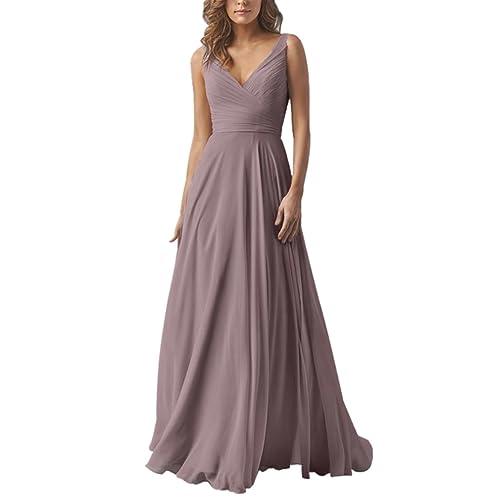 42c4422ff9b Yilis Double V Neck Elegant Long Bridesmaid Dress Chiffon Wedding Evening  Dress