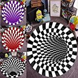 Round Carpet,Checkered Vortex Optical Illusions Non Slip Area Rug,3D Carpet Mat Floor Mat, Black White Plaid Rugs Non-Woven Doormat Rug for Bedroom Living Room (47.24x47.24inch, Style1)