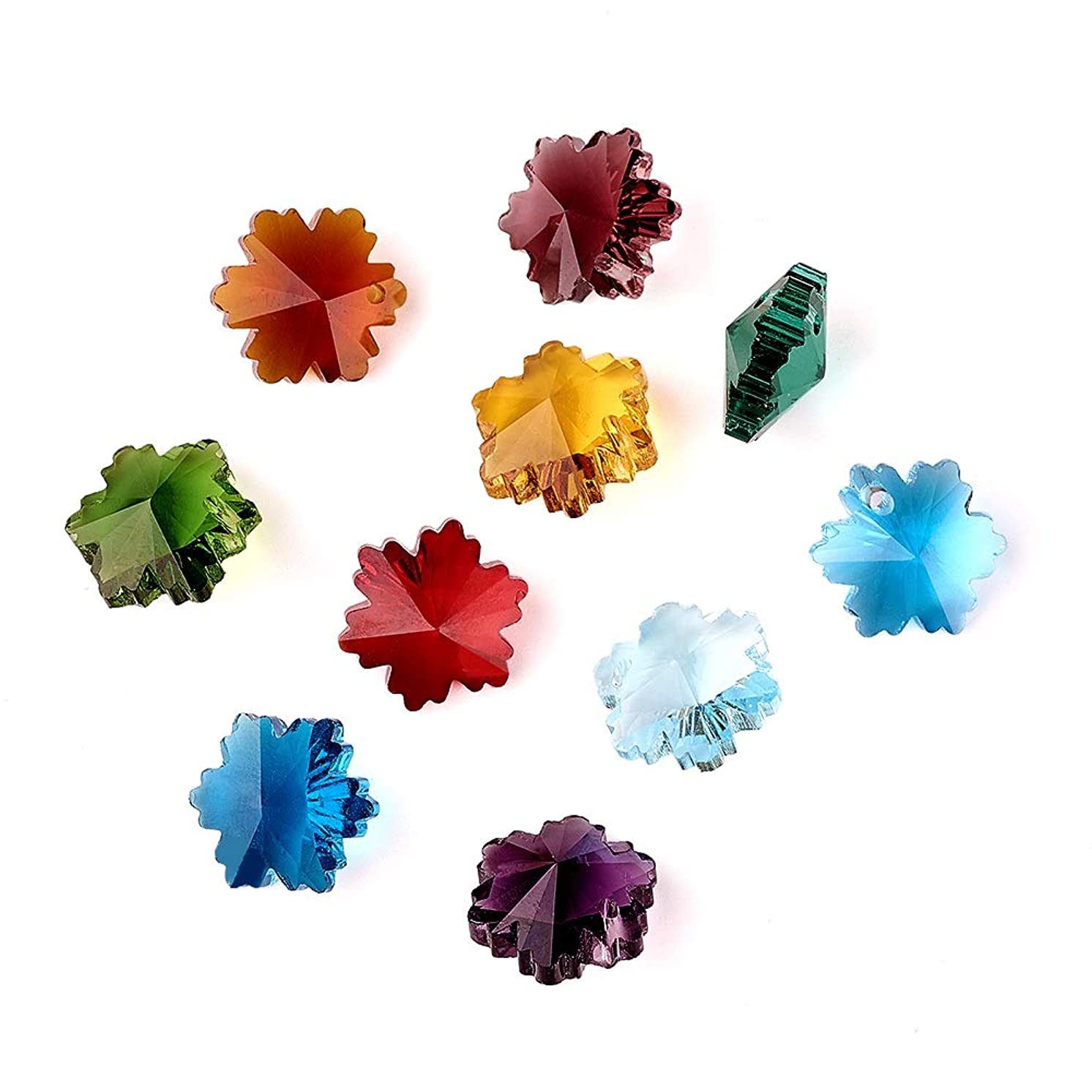 Craftdady 100PCS Mixed Color Handmade Christmas Snowflake Faceted Glass Pendants Charms Loose Bead for Bracelets Necklace Jewelry Making Findings