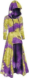 〓COOlCCI〓Women Renaissance Costumes Hooded Robe Drawstring Tie Dye Vintage High Low Long Hoodie Dress Cloak Cosplay
