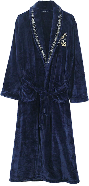 Men's Fat Plus Size Nightgown Fat Guy Flannel Thick Bathrobe Homewear Sleepwear with Belt Thickening Pajamas Pjs