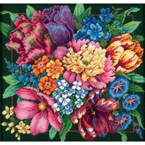 I Love Purple Flower Needlepoint Kit or Canvas Floral//Nature