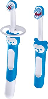 MAM Learn to Brush Baby Toothbrush Set, Boy, Blue, 6+ Months
