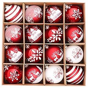 Valery Madelyn 16ct 8cm クリスマス オーナメント 16個入り 红白色 北欧風 ボールクリスマス ツリー 飾り 飾り付け おしゃれ ゴージャス
