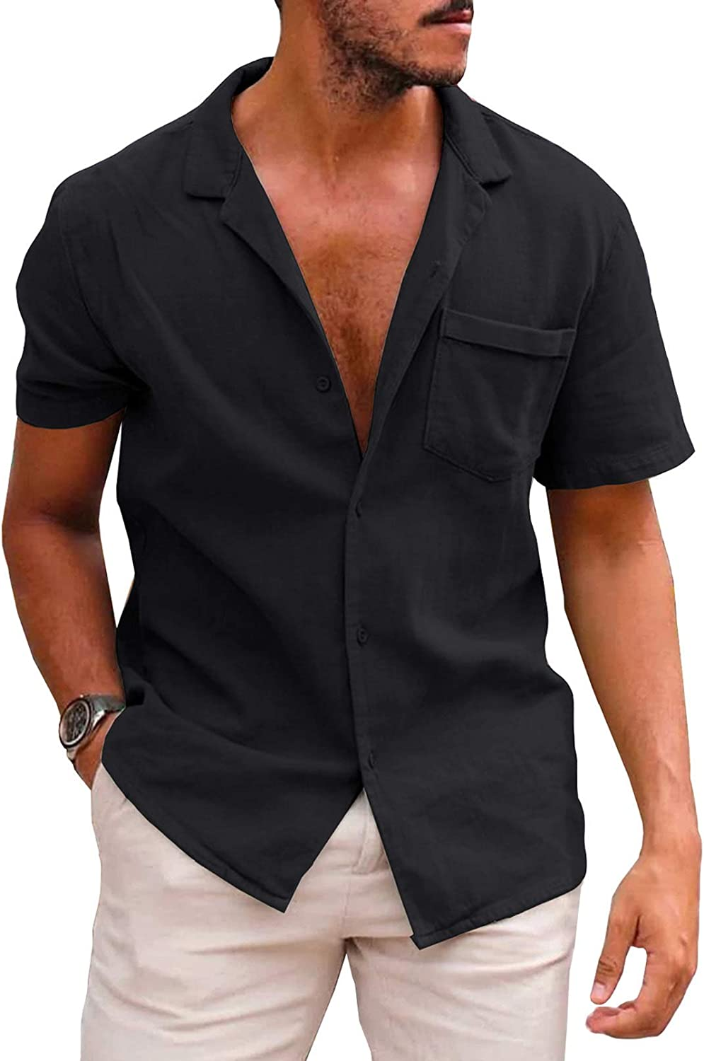 Renaowin Mens Casual Button Down Henley T-Shirts Short Sleeves Solid Classic Summer Blouse Tops