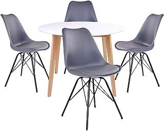 AltoBuy Gram - Ensemble Table Ronde Naturelle et Blanche + 4 Chaises Grises