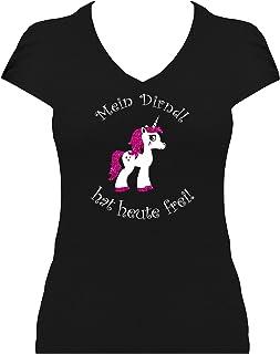 BlingelingShirts Fun Shirt Damen Oktoberfest Einhorn Shirt Mein Dirndl hat Heute frei pink