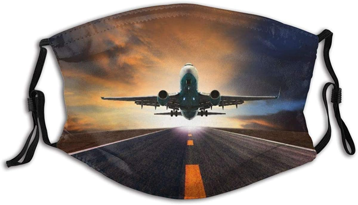 VAMIX Face Cover Passenger Jet Plane Flying Over Airport Runway Against Beautiful Dusky Sky Use Balaclava Unisex Reusable Windproof Anti-Dust Mouth Bandanas Neck Gaiter with 2 Filters