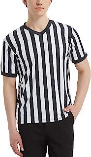 comprar comparacion TopTie Artículos Deportivos Camiseta Oficial de árbitro con Cuello en V y Rayas Blancas y Negras para Hombre