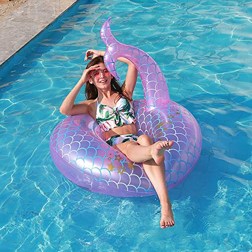 YAUUYA Inflatable Pool Float Floating Bed Pink Mermaid Swim Ring Fish Tail PVC Material Soft and Durable Best Swimming Pool and Lounger Ride Toys for Adults and Kids 110110cm