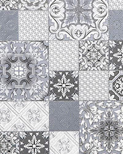 Küchen Bad Tapete EDEM 87001BR10 Vinyltapete leicht strukturiert mit Kachelmuster und metallischen Akzenten grau anthrazit weiß silber 5,33 m2