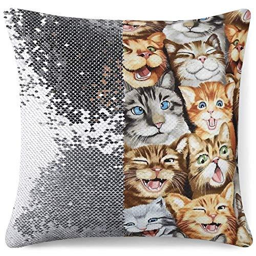 Funda de Almohada con Lentejuelas - Funda de Almohada con Purpurina Reversible Cactus Cats Cojín Decorativo Fundas de Almohada para sofá Decoración del hogar