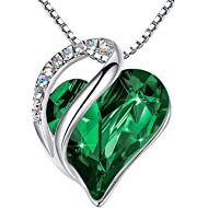 "Leafael ""Infinity Love Heart Pendant Necklace Made with Swarovski Crystals Birthstone Jewelry..."
