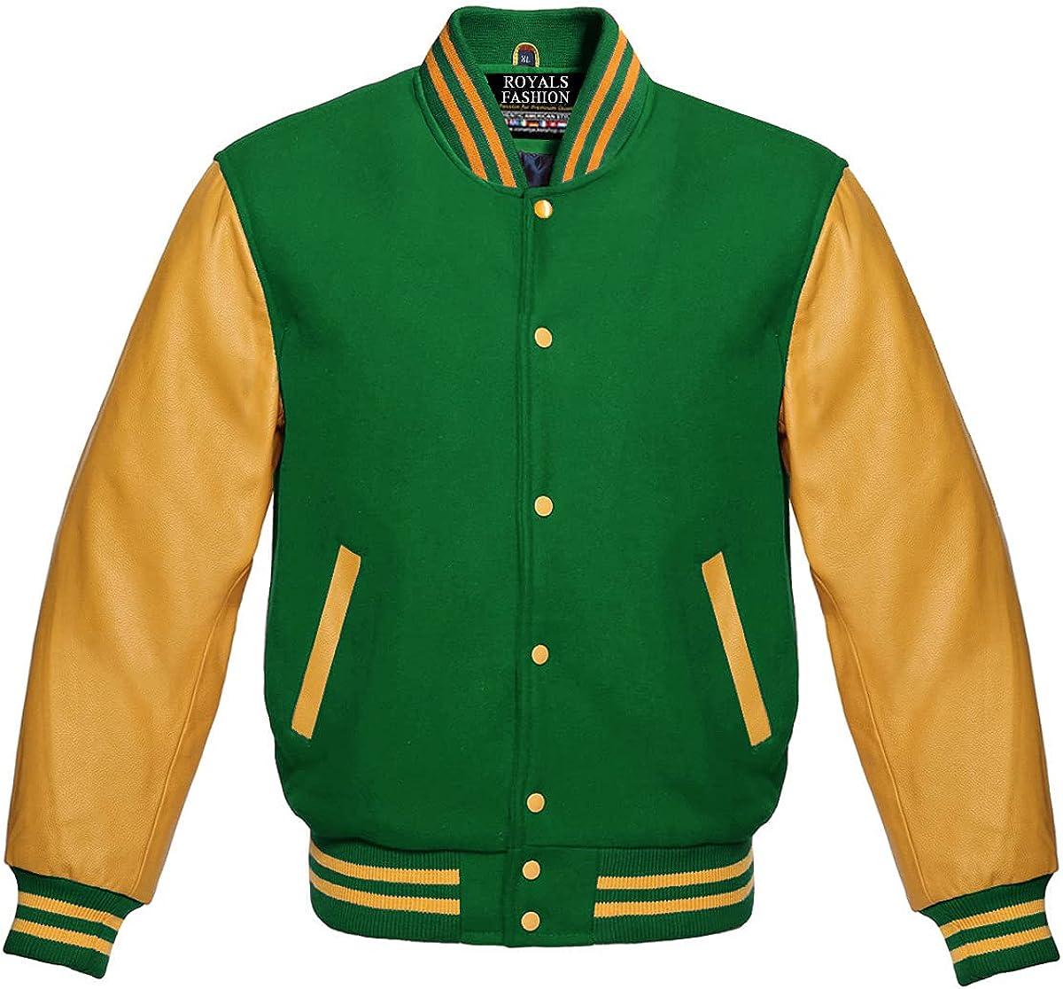 Men's Vintage Gold Genuine Leather Sleeves Letterman Bomber Style Green Wool Varsity Jacket