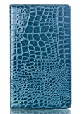 Slimbook Style Crocodile Pattern Blue Folio Leather Case Cover for Samsung Galaxy Tab S 8.4 Inch SM-T700