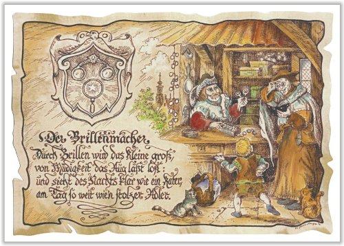 Geschenk Brillenmacher Optiker Zeichnung Color 30 x 21 cm