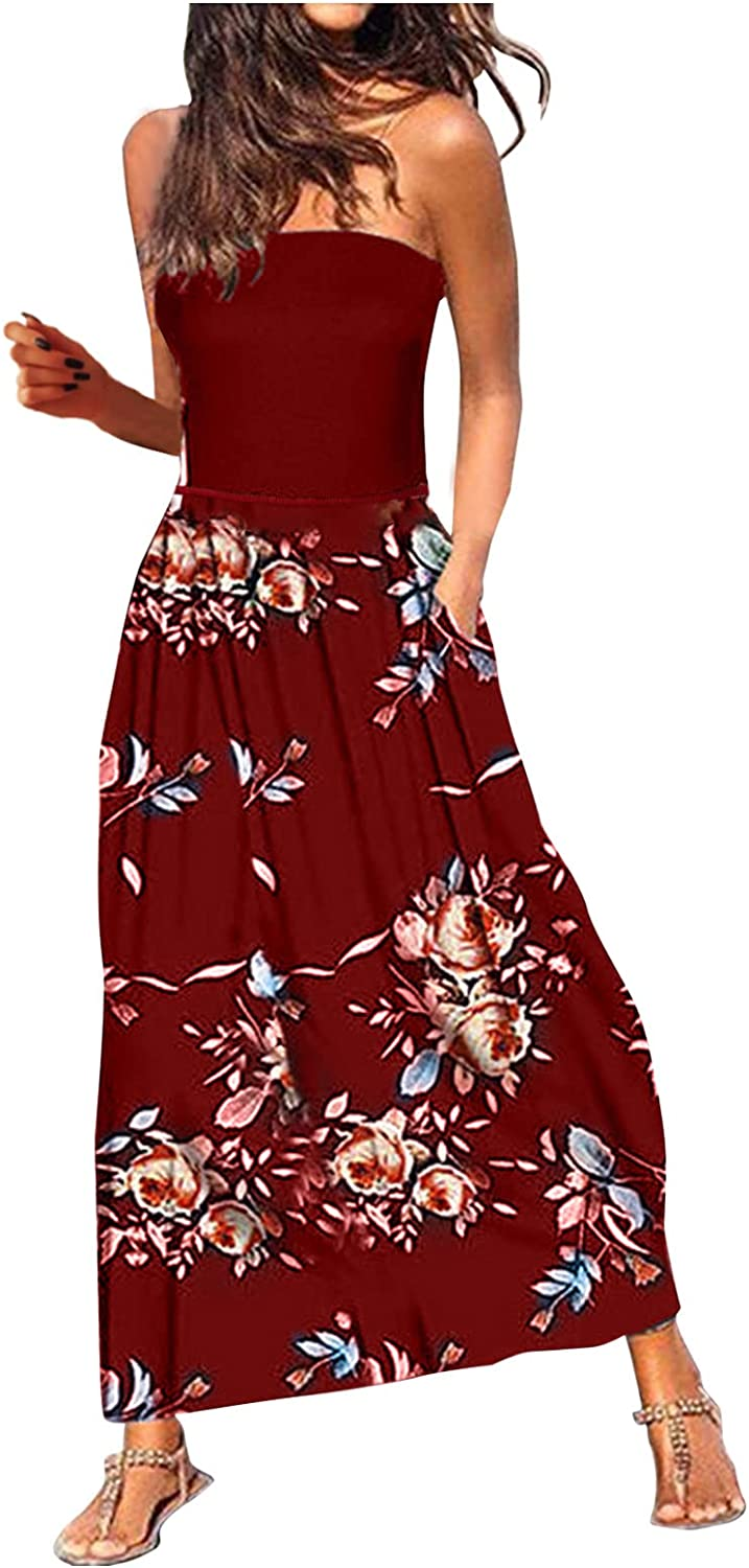 melupa Womens Summer Dress Bohemian Floral Printed Beach Sundress Strapless Bandeau Party Long Maxi Dress with Pockets