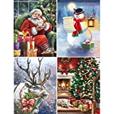 "Ginfonr 4 Pack 5D Diamond Painting Christmas Santa Snowman Reindeer Xmas Tree Full Drill Paint with Diamonds Art, DIY Embroidery Rhinestone by Number Kits Cross Stitch Wall Decor 12""x16"""