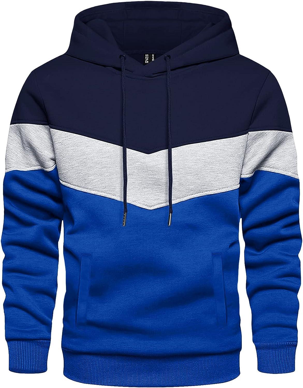 KEFITEVD Men's Color Block Pullover Hoodies In stock H Casual Classic Sleeve Long