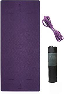 Body Midline System Yoga Mat with Bag TPE Eco Friendly High Density Thickened Non-Slip Exercise Yoga Mat Fitness Workout Mat Exercise Mat for Yoga, Pilates, Stretching,Meditation,Camping,Home-use