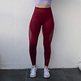 Jinqiuyuan Women Energy Seamless Tummy Control Yoga Pants Super Stretchy Gym Tights High Waist Sport Leggings Running Pants (Color : F, Size : S)