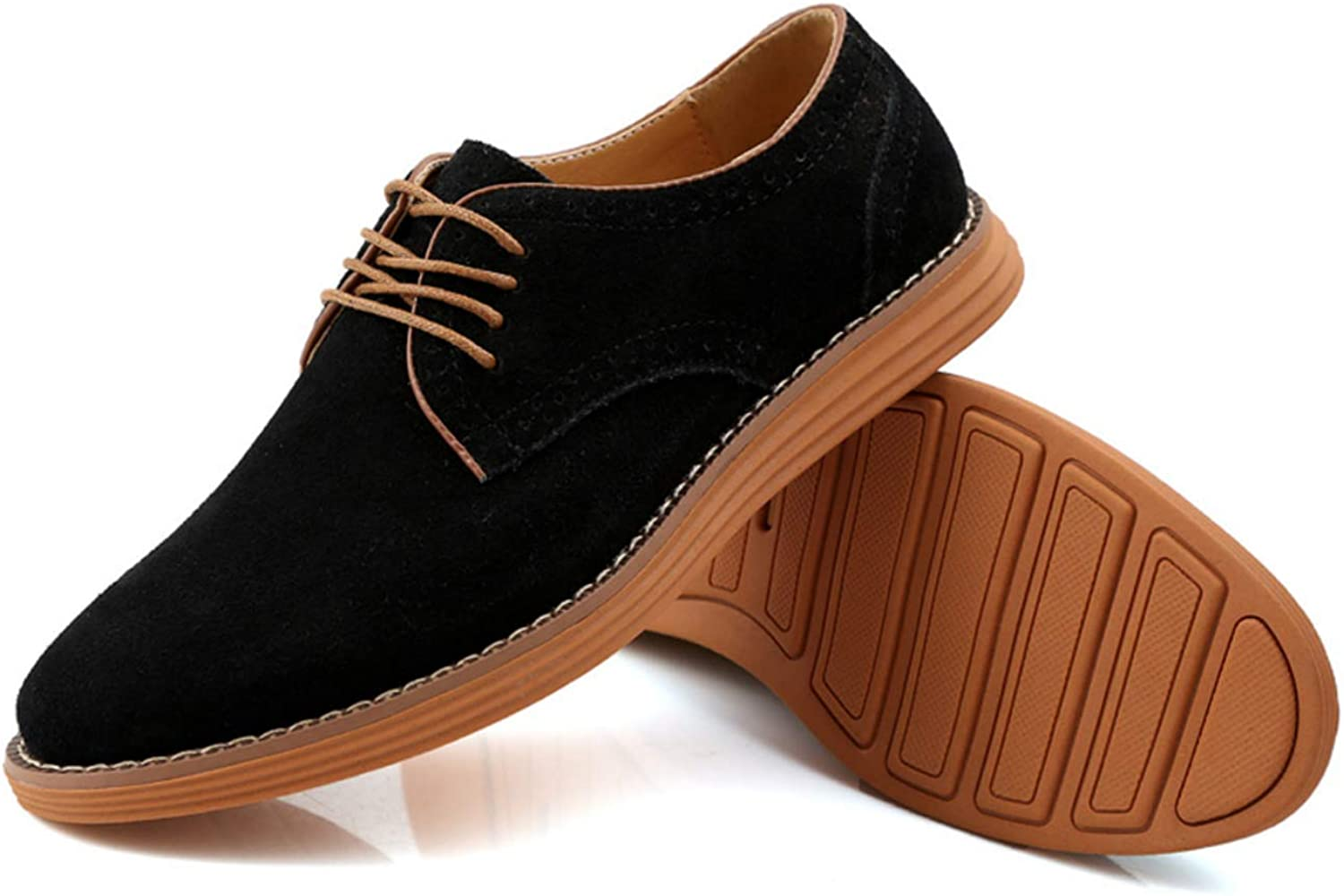 Moodeng Men`s Classic Suede Oxford shoes Summer Causal Walking Dress shoes Non-Slip Lace Up Fashion Sneaker Black