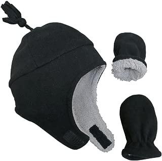 Little Boys and Baby Sherpa Lined Warm Fleece Pilot Hat Mitten Set