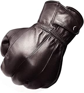 Man Leather Gloves in Winter to Keep Warm and Velvet Thickening Business Gloves (Color : Coffee, Gloves Size : M)