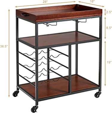 Giantex 3-Tier Kitchen Island Cart Rolling Trolley Industrial Style Serving Cart Utility Cart Wood Kitchen Stand with Glasses Holder and 9 Wine Bottles Rack Metal Frame and Castors (Rustic Brown)