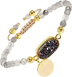 Nupuyai 4mm Faceted Stone Beads Bracelet for Women Men, Adjustable Healing Crystal Chakra Bracelet with Druzy Oval Charms